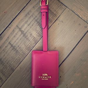 Brand new red leather coach luggage tag